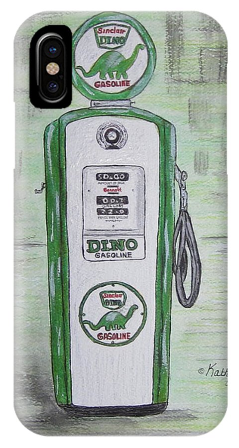 Dino IPhone X Case featuring the painting Dino Sinclair Gas Pump by Kathy Marrs Chandler