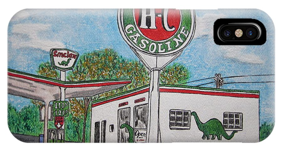 Dino IPhone X Case featuring the painting Dino Sinclair Gas Station by Kathy Marrs Chandler