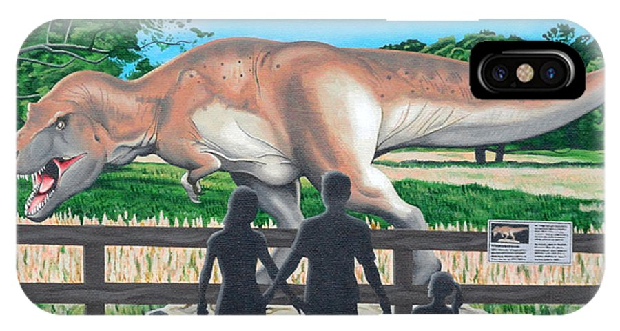 Dinosaur IPhone X Case featuring the painting Dinosaur Country by Christopher Spicer