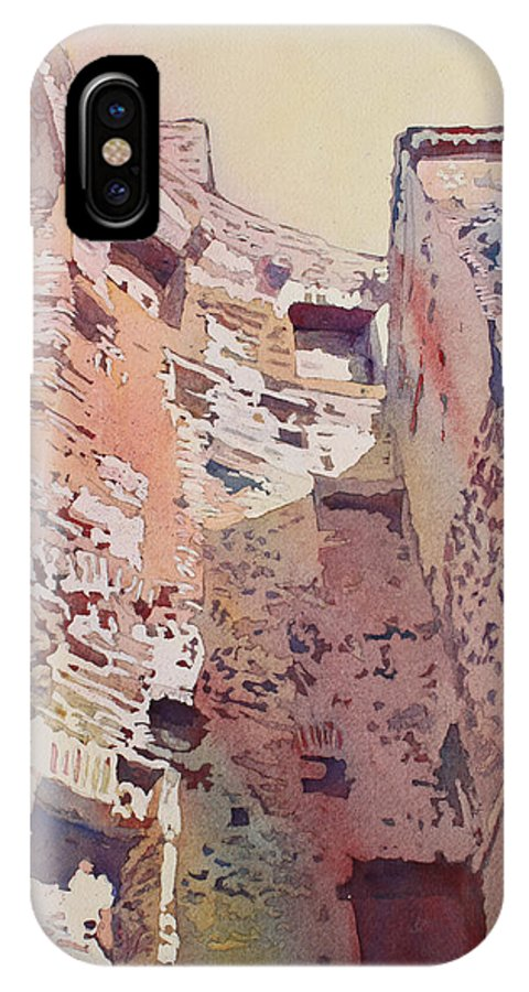 Rome IPhone X Case featuring the painting Diocletian Courtyard by Jenny Armitage
