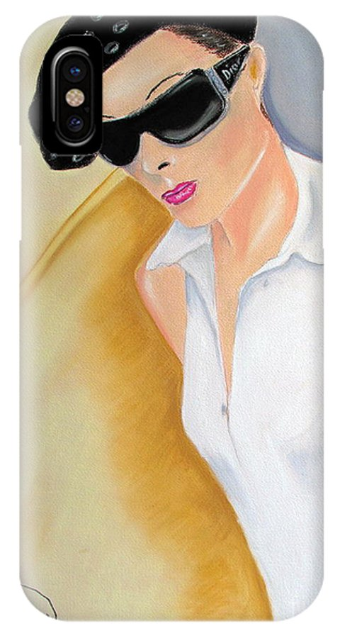 Model.dior IPhone X / XS Case featuring the pastel Dior..2 by Jo Hoden
