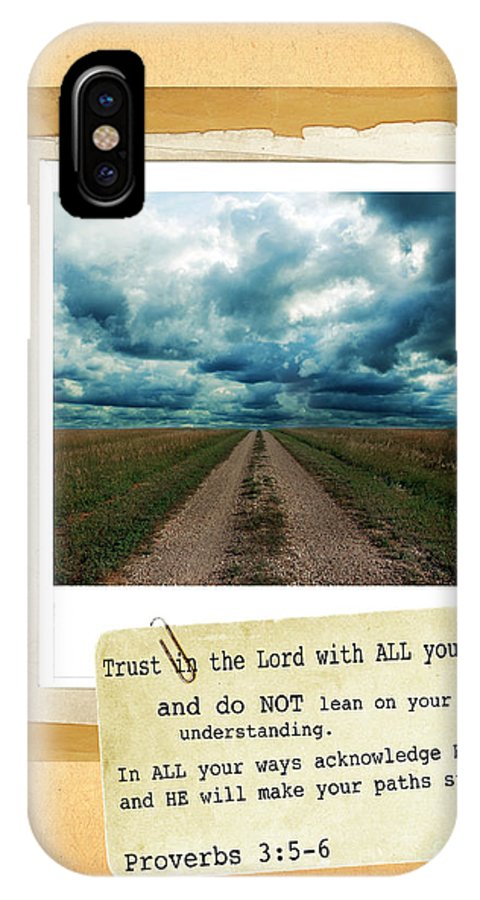 Bible Verse IPhone X Case featuring the photograph Dirt Road With Scripture Verse by Jill Battaglia