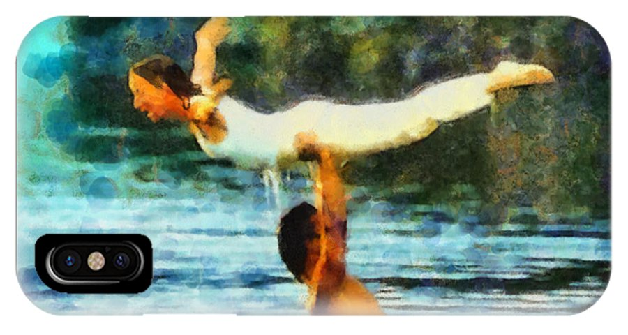 Dirty Dancing Movie Watercolor Painting Lake Lure Nc Chimney Rock Nc Patrick Swayze Water Landscape North Carolina Rutherfordton Famous Celebrities IPhone X Case featuring the painting Dirty Dancing by Elizabeth Coats