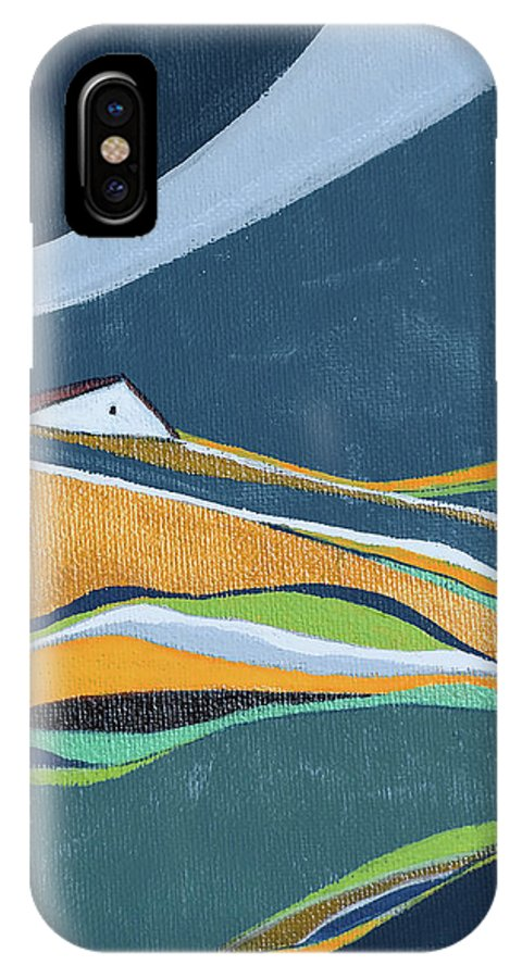 Abstract IPhone X Case featuring the painting Distant House by Aniko Hencz