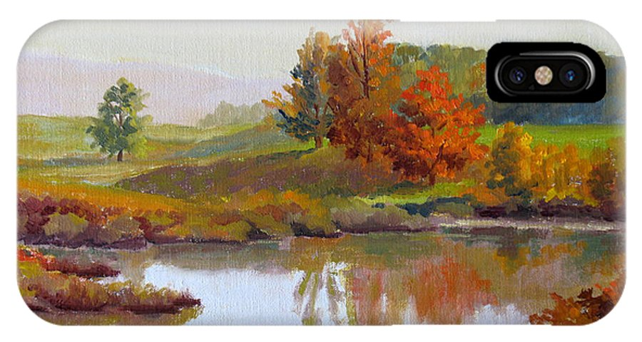 Landscape IPhone X Case featuring the painting Distant Maples by Keith Burgess