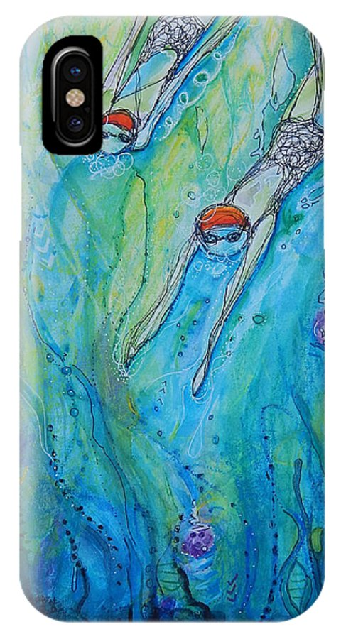 Swimming iPhone X Case featuring the mixed media DiveDown.MaryMConner by Mary Conner