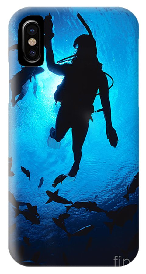 Blue IPhone X Case featuring the photograph Diver And Reef Fish by Ed Robinson - Printscapes