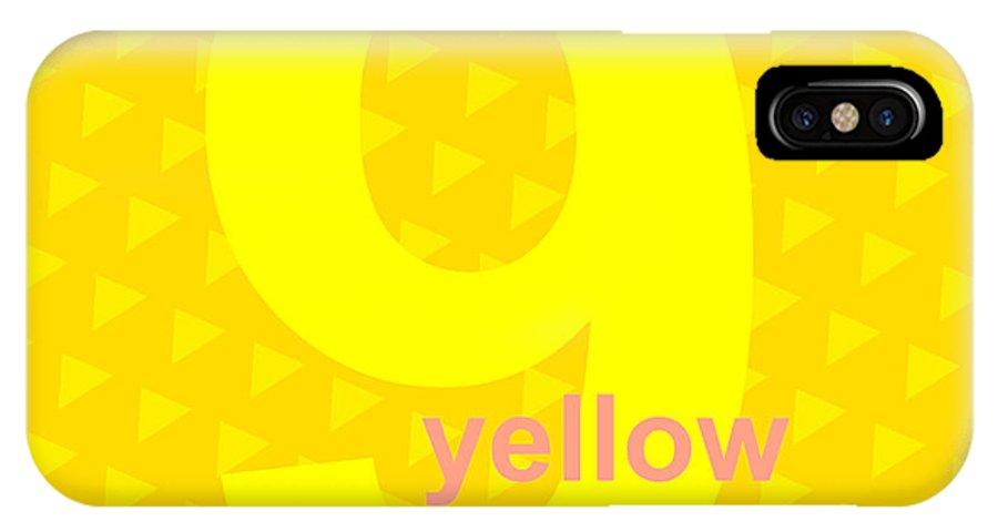 Yellow IPhone X Case featuring the digital art Divine Yellow Number Nine by Maciej Mackiewicz
