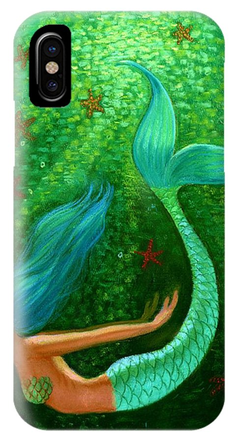 Mermaid IPhone X Case featuring the painting Diving Mermaid Fantasy Art by Sue Halstenberg