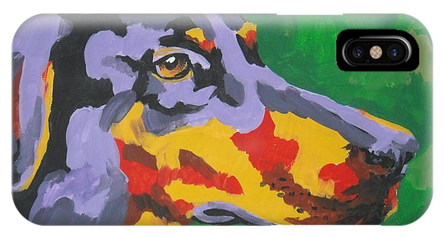Dog IPhone X Case featuring the painting Doberman by Caroline Davis