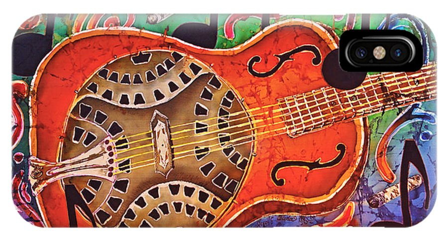 Dobro IPhone X Case featuring the tapestry - textile Dobro - Slide Guitar by Sue Duda