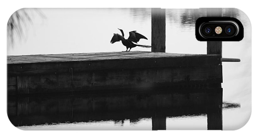 Black And White IPhone X Case featuring the photograph Dock Bird Pre Flight by Rob Hans