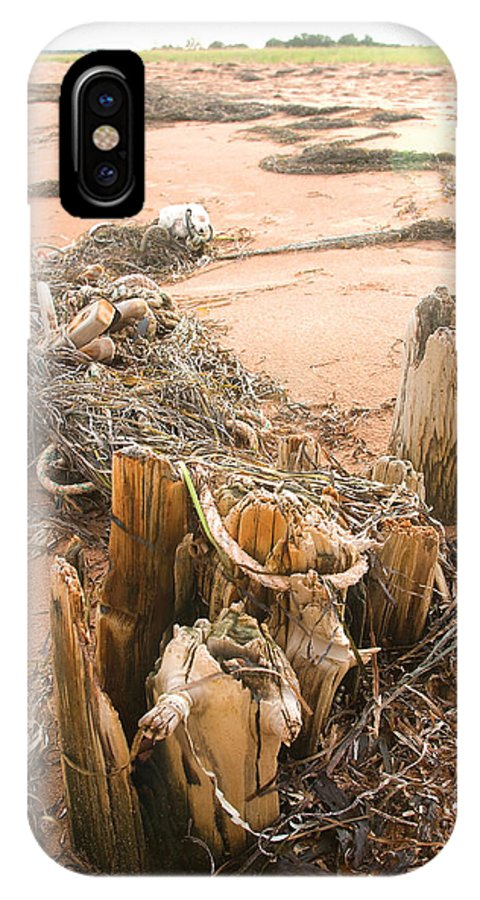 Dock IPhone X Case featuring the photograph Dock Posts And Nets by Steve Somerville