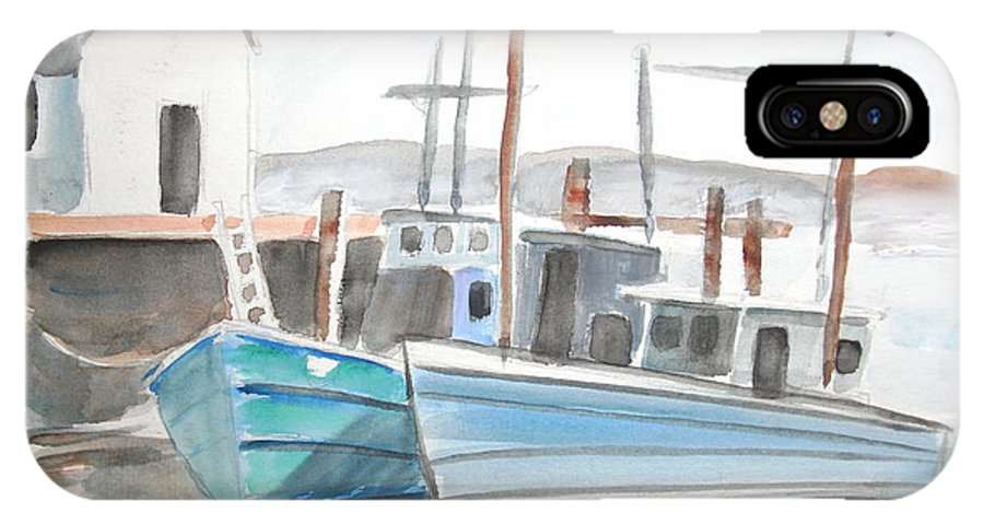 Landscape IPhone X Case featuring the painting Dockside by Scott Easom