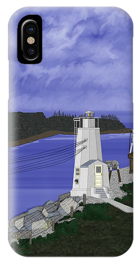 Lighthouse IPhone Case featuring the painting Dofflemeyer Point Lighthouse At Boston Harbor by Anne Norskog