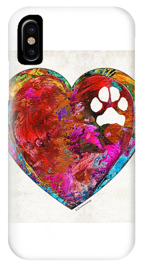 Dog IPhone X Case featuring the painting Dog Art - Puppy Love 2 - Sharon Cummings by Sharon Cummings