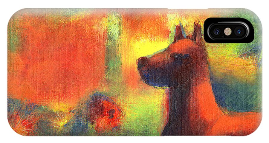 Dogs IPhone X Case featuring the painting Dog With Red Flowers by Nato Gomes