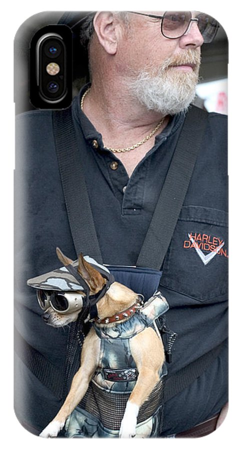 Cute IPhone X Case featuring the photograph Doggie Biker by Carl Purcell
