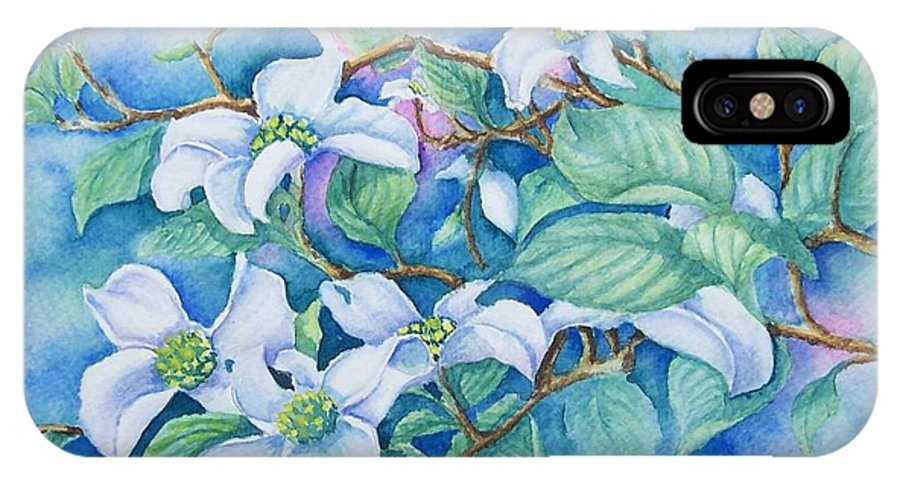 Floral IPhone X Case featuring the painting Dogwood by Conni Reinecke