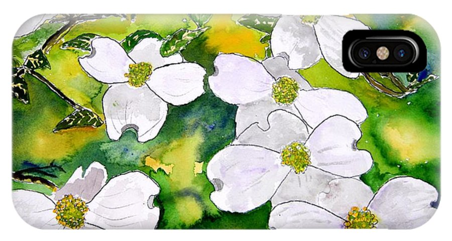 Dogwood IPhone X Case featuring the painting Dogwood Tree Flowers by Derek Mccrea