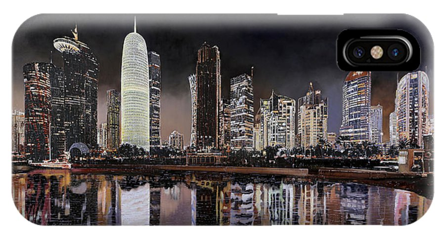 6d90aea331fabe Night In Doha IPhone X Case featuring the painting Doha Qatar by Guido  Borelli