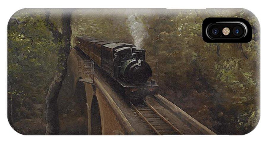 Steam IPhone X Case featuring the painting Dolgoch Viaduct by Richard Picton