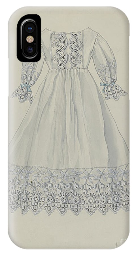 IPhone X Case featuring the drawing Doll's Dress by Edith Towner