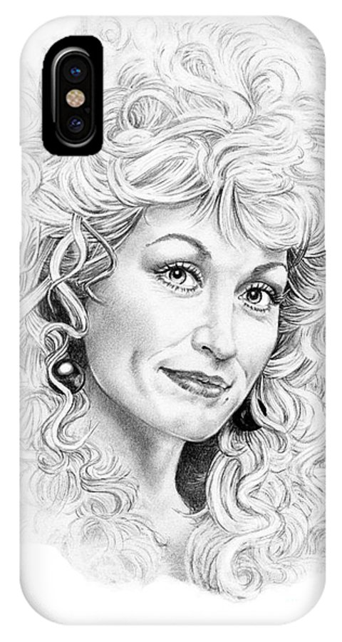 Portrait IPhone X Case featuring the drawing Dolly Parton by Murphy Elliott