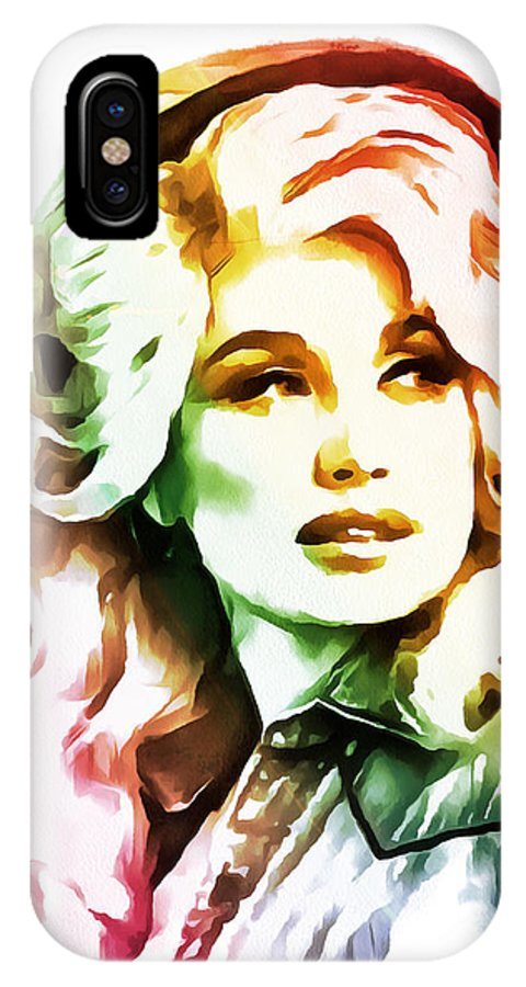 Dolly Parton IPhone X Case featuring the painting Dolly Parton Collection - 1 by Sergey Lukashin