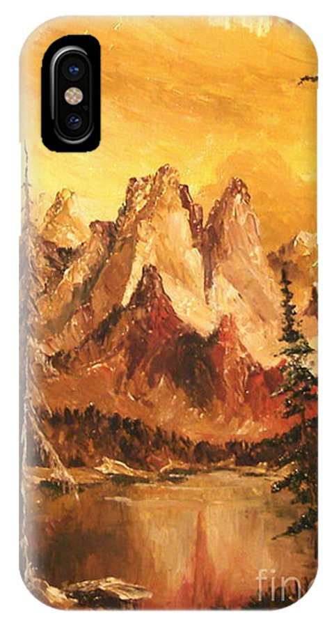 Mountain IPhone X Case featuring the painting Dolomiti by Sorin Apostolescu
