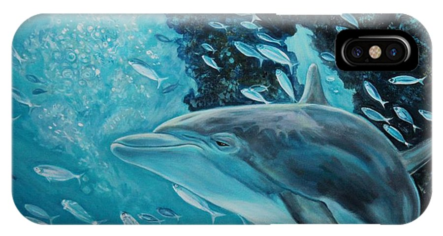 Underwater Scene IPhone X Case featuring the painting Dolphin With Small Fish by Diann Baggett