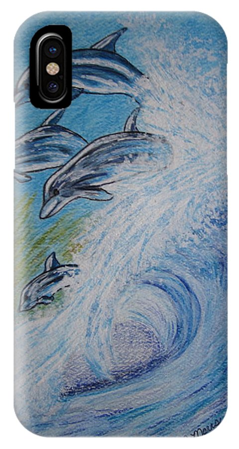 Dolphins IPhone X Case featuring the painting Dolphins Jumping In The Waves by Kathy Marrs Chandler