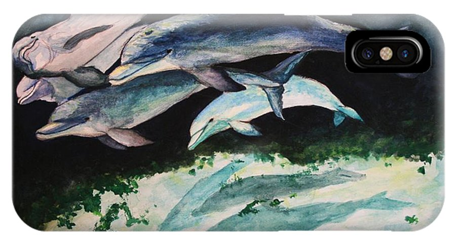 Dolphins IPhone X Case featuring the painting Dolphins by Laura Rispoli