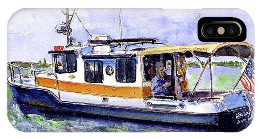 Bay IPhone X Case featuring the painting Don And Kathys Boat by John D Benson