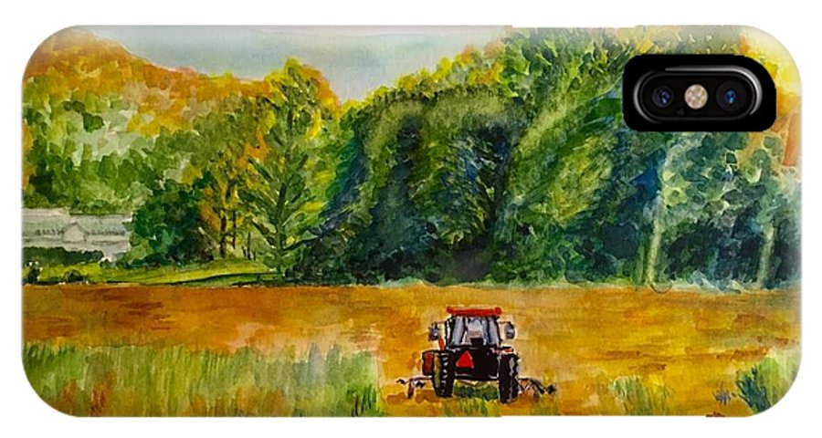 Tractor IPhone X Case featuring the painting Done for the Day by Judy Swerlick