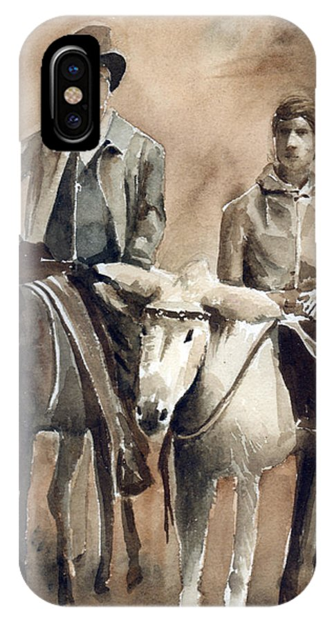 Donkey IPhone X Case featuring the painting Donkey Ride by Arline Wagner