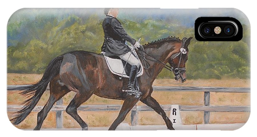 Horse IPhone X Case featuring the painting Donnerlittchen by Quwatha Valentine