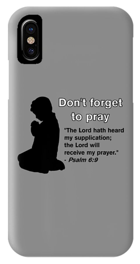 Praying Child IPhone X Case featuring the drawing Don't Forget to Pray Praying Child by Pharris Art