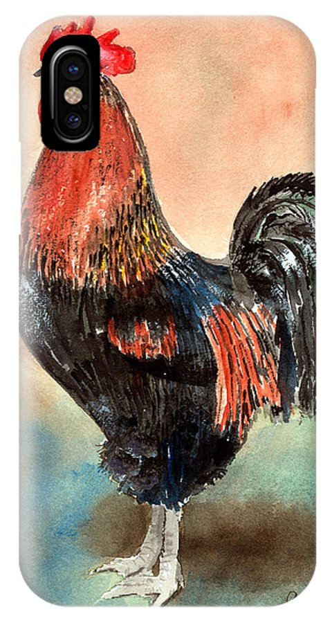 Rooster IPhone X Case featuring the painting Doodle by Arline Wagner