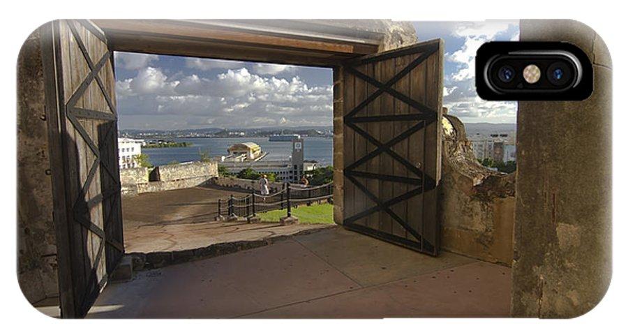 San Cristobal IPhone X / XS Case featuring the photograph Doors Open To View Of San Juan by Sven Brogren