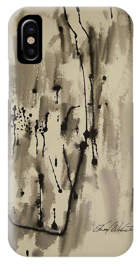Abstract IPhone X Case featuring the painting Doorway To Nowhere by Edward Wolverton