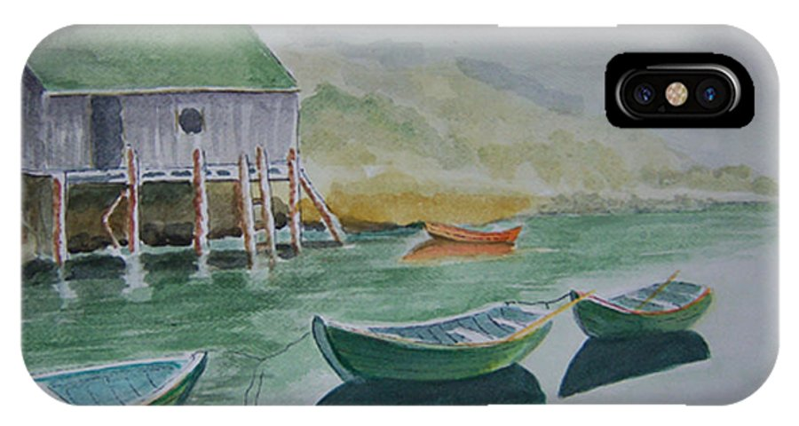 Fishing Village IPhone X / XS Case featuring the painting Dories In Waiting by Nancy Nuce