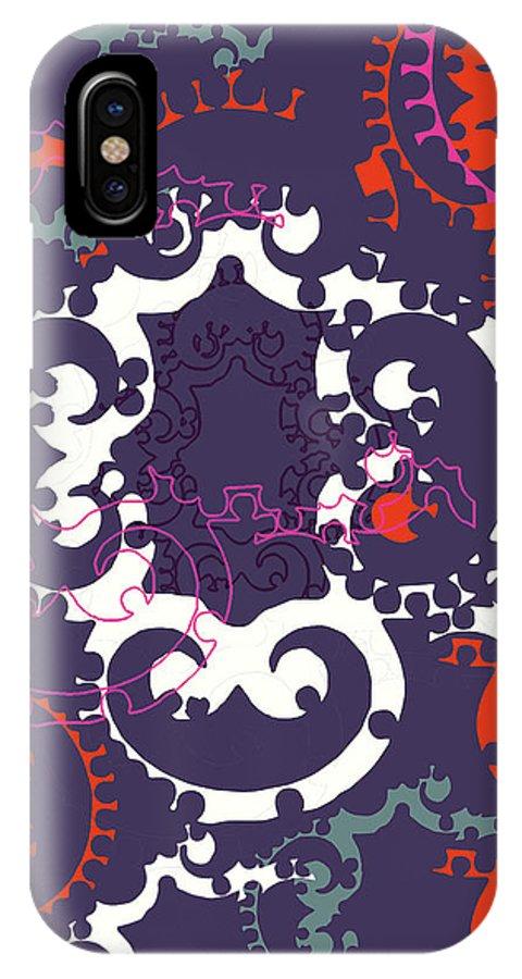 Purple IPhone X Case featuring the digital art Doro Fall by Ceil Diskin