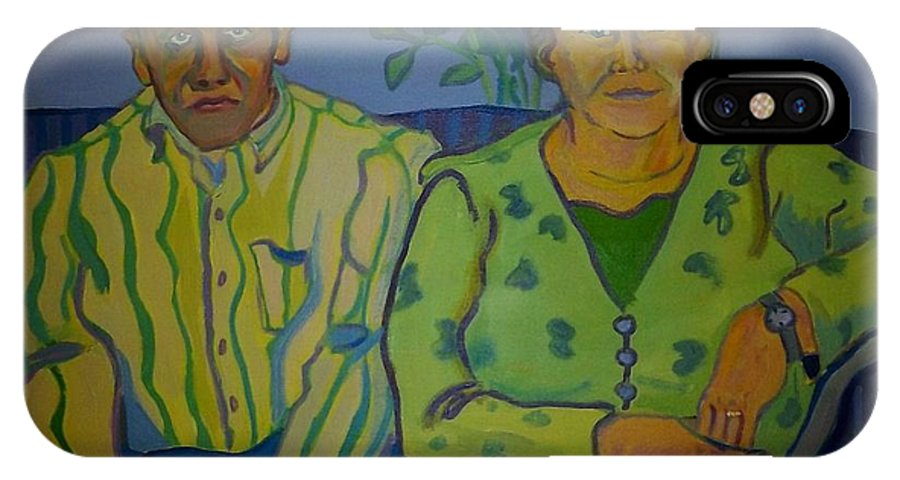 Older Couple IPhone X / XS Case featuring the painting Dottie And Jerry by Debra Bretton Robinson