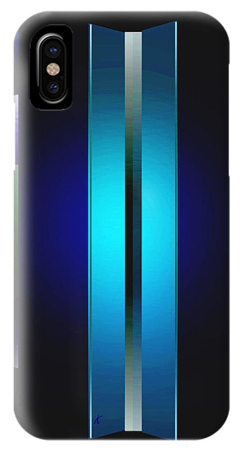 Abstract IPhone X Case featuring the painting Double Edged Blue by John Krakora