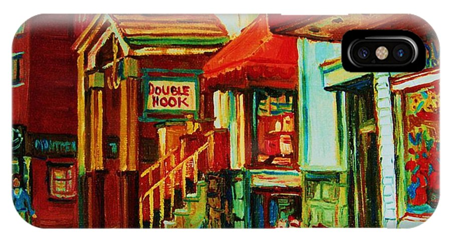 Double Hook Bookstore IPhone X Case featuring the painting Double Hook Book Nook by Carole Spandau