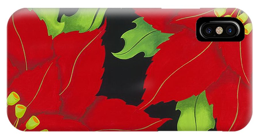 Acrylic IPhone X Case featuring the painting Double Red Poinsettias by Carol Sabo