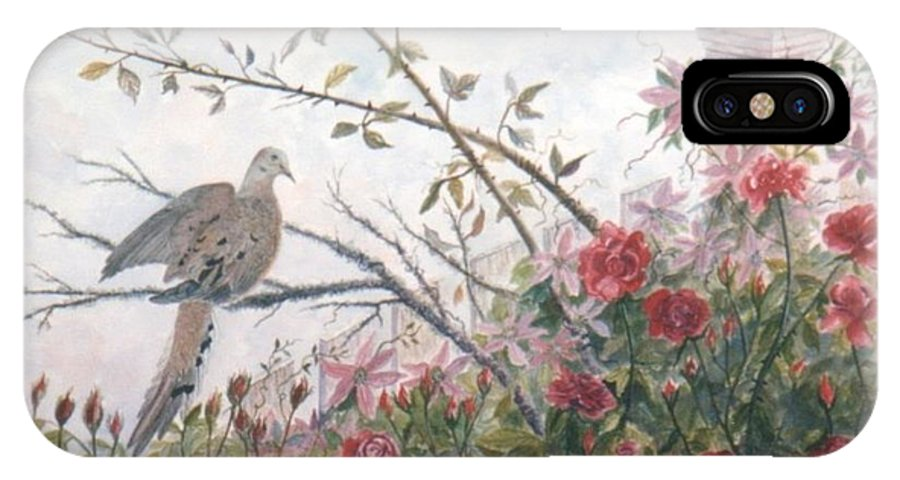 Dove; Roses IPhone X / XS Case featuring the painting Dove And Roses by Ben Kiger