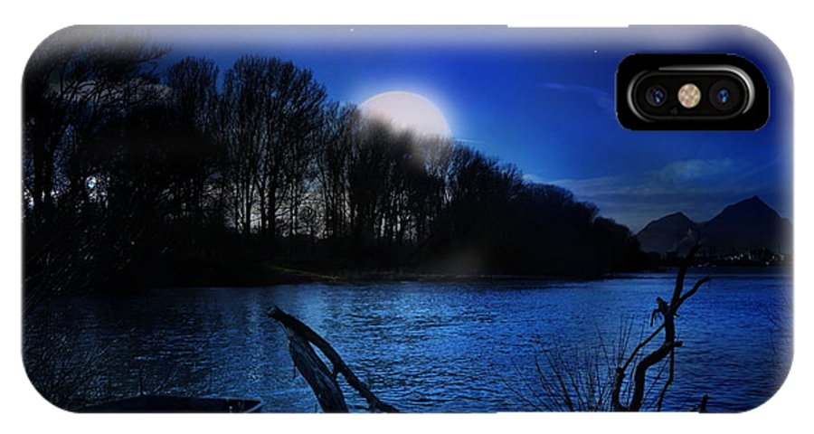 #fineart #art #photography #nightscape #night #nature #river IPhone X Case featuring the photograph Down By The River by Bernd Hau