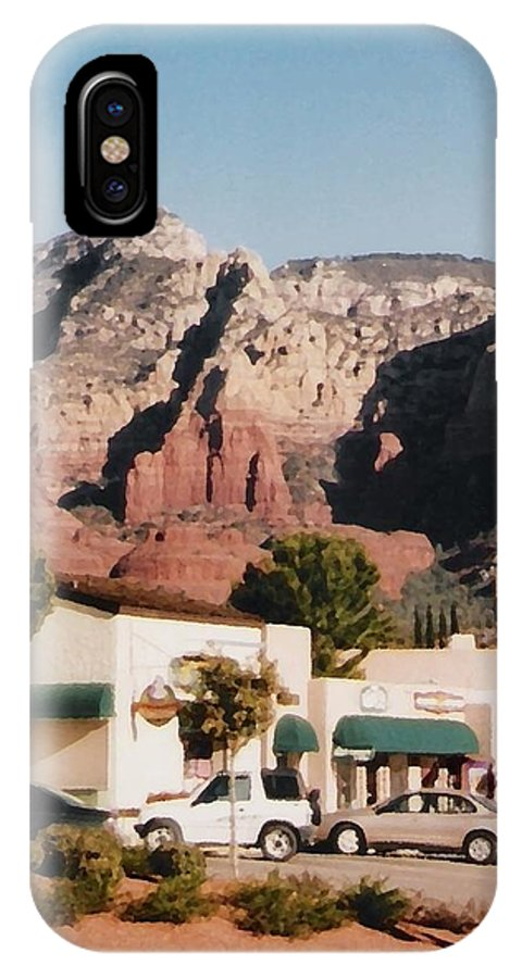 Sedona IPhone X Case featuring the mixed media Down in Sedona by Pharris Art